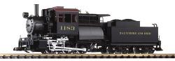 G-Dampflokomotive mit Tender B&O 0-6-0 Camelback, Sound