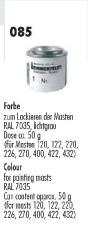 Farbe lichtgrau RAL 7035 in Dose (ca.50g) f.Masten