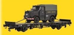 KIB/H0 Niederbordwagen mit KAELBLE Zugmaschine, Fertigmodell
