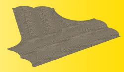 VOL/H0 Straßenplatte Kopfsteinpflaster, 60°-Einmündung, 22 x 19,5 cm
