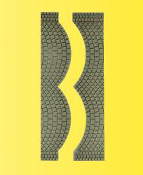 VOL/H0 Straßenplatte Kopfsteinpflaster, je 2 Endstücke, 8 x 1,7 cm