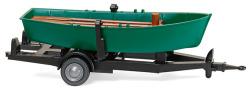 Ruderboot auf Anhänger - türkisgrün