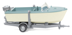 Motorboot auf Anhänger - creme/pastelltürkis