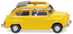 Fiat 600 with folding roof - yellow