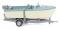 Wiking 009502 Motorboot auf Anhänger - creme/pastelltürkis