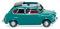 Wiking 009903 Fiat 600 mit offenem Faltdach - wasserblau