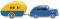 Wiking 082004 Ford Taunus G73A mit Reiseanhänger - blau/gelb