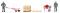 Wiking 120048 Zubehörpackung-Baustellen-Set Mischmaschine, Schubkarre,
